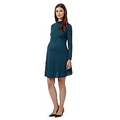 Red Herring Maternity - Dark green roll neck maternity dress