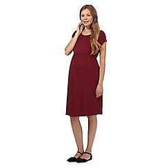 Red Herring Maternity - Dark red gathered waist jersey maternity dress
