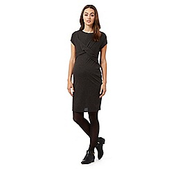 Red Herring Maternity - Dark grey linen blend cross over dress