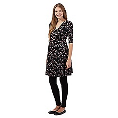 Red Herring Maternity - Black floral wrap maternity dress