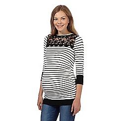 Red Herring Maternity - Black striped lace yoke maternity jumper