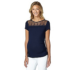 Red Herring Maternity - Navy floral lace mesh maternity top