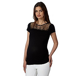 Red Herring Maternity - Black jersey lace trim maternity top