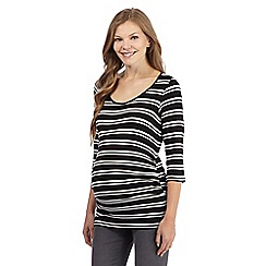 Red Herring Maternity - Black striped scoop neck maternity top