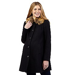 Red Herring Maternity - Navy wool blend faux fur coat
