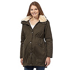 Red Herring Maternity - Khaki faux fur parka jacket