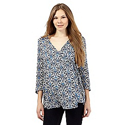 Red Herring Maternity - Navy print flute blouse