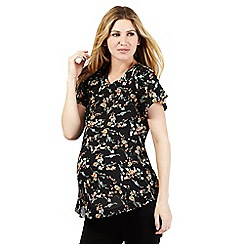 Red Herring Maternity - Black floral print cut-out shoulder top