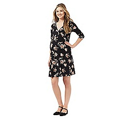 Red Herring Maternity - Black floral print maternity wrap dress