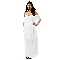 Red Herring Maternity - Ivory lace trim layered waist maxi dress