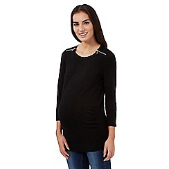 Red Herring Maternity - Black zip shoulder jumper