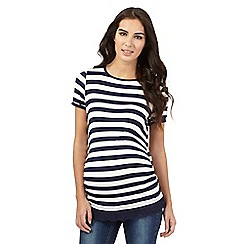 Red Herring - Navy and white striped print lace hem top