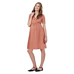 Red Herring Maternity - Orange jacquard wrap dress