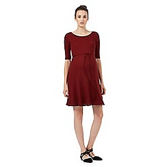 Red Herring Maternity - Dark red ribbed swing dress