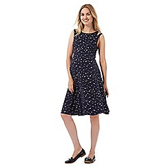 Red Herring Maternity - Navy arrow print cut-out shoulder dress