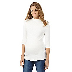 Red Herring Maternity - White ribbed turtle neck top