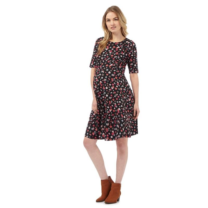 Red Herring Black Floral Print Dress, Womens, Casual dresses