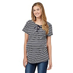 Red Herring Maternity - Navy textured stripe lace up neck t-shirt