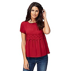 RJR.John Rocha - Dark red lace insert top