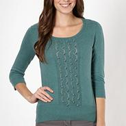 Designer light turquoise bobble knit jumper