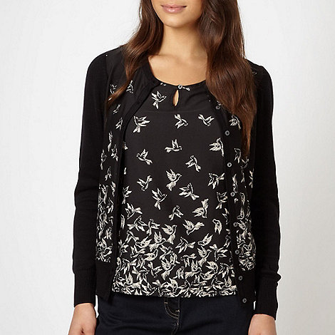 RJR.John Rocha - Designer black 2-in-1 bird patterned top and cardigan