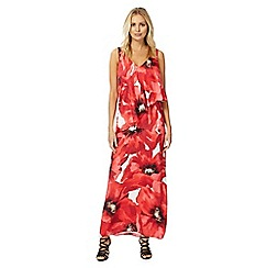 RJR.John Rocha - Red poppy print satin V-neck maxi dress