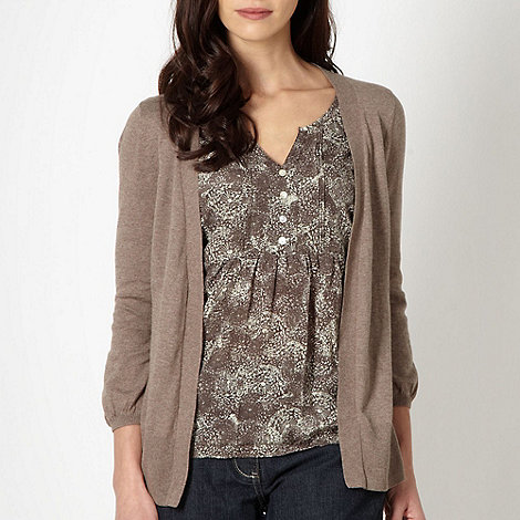 RJR.John Rocha - Designer taupe 2-in-1 dandelion top and cardigan