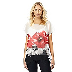 RJR.John Rocha - White and red poppy print kimono layered top