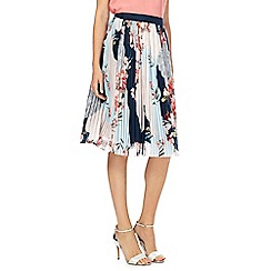 RJR.John Rocha - Multicoloured pleated floral print knee length skirt