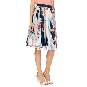 RJR.John Rocha Multicoloured pleated floral print knee length skirt