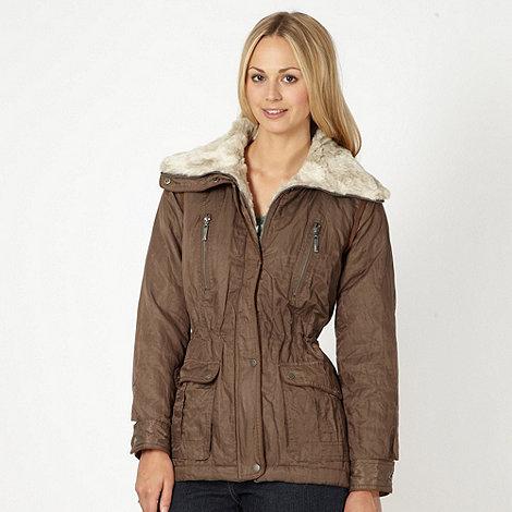 RJR.John Rocha - Designer taupe faux fur collar jacket