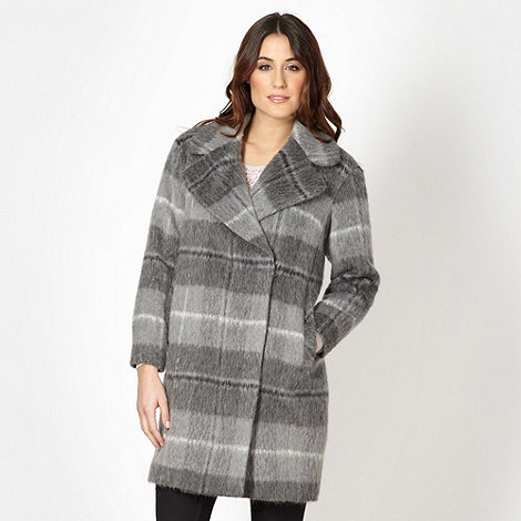 RJR.John Rocha - Designer grey wool blend checked coat