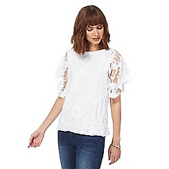 RJR.John Rocha - White floral burnout bubble hem top