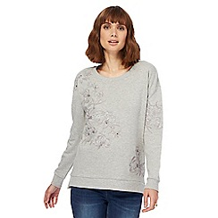 RJR.John Rocha - Grey floral embroidered sweat top