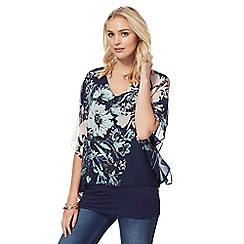 RJR.John Rocha - Navy floral print cold shoulder top