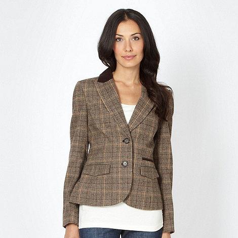 RJR.John Rocha - Designer brown tweed tartan blazer