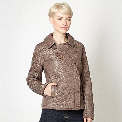 RJR.John Rocha - Designer taupe quilted biker jacket