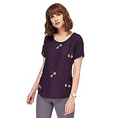 RJR.John Rocha - Plum floral embroidered top