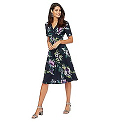 RJR.John Rocha - Navy floral V-neck knee length dress