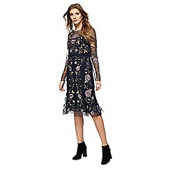RJR.John Rocha - Navy embroidered chiffon long sleeve midi dress