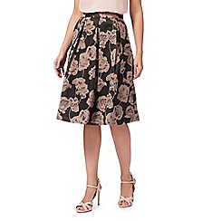 RJR.John Rocha - Dark grey and pink floral jacquard skirt