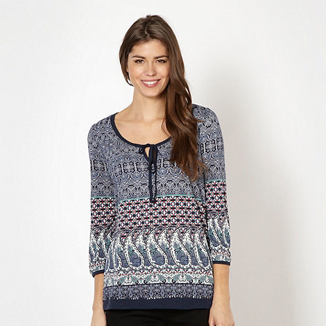 RJR.John Rocha - Designer navy paisley scoop neck top