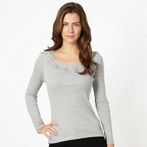 RJR.John Rocha - Designer grey flower top