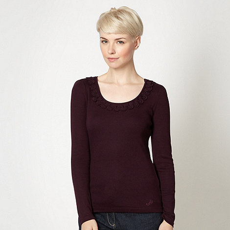 RJR.John Rocha - Designer dark purple wave neck top