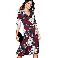 RJR.John Rocha - Plum floral print cowl neck dress