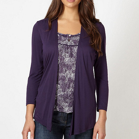 RJR.John Rocha - Designer plum 2-in-1 dandelion top and cardigan