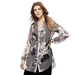 RJR.John Rocha - Grey floral print longline shirt