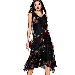 RJR.John Rocha - Multi-coloured floral devore v-neck evening dress