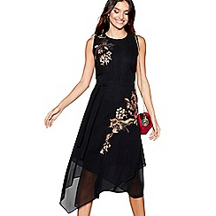 RJR.John Rocha - Black floral embroidered sleeveless midi dress