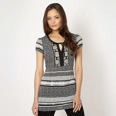 RJR.John Rocha - Designer black square patterned tunic top